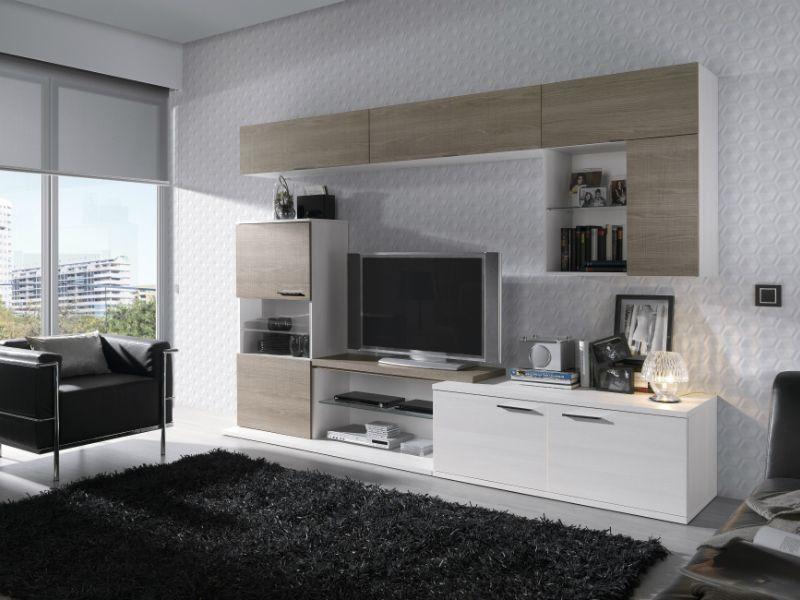 #Salón #modular #combinado #blanco e #nogal