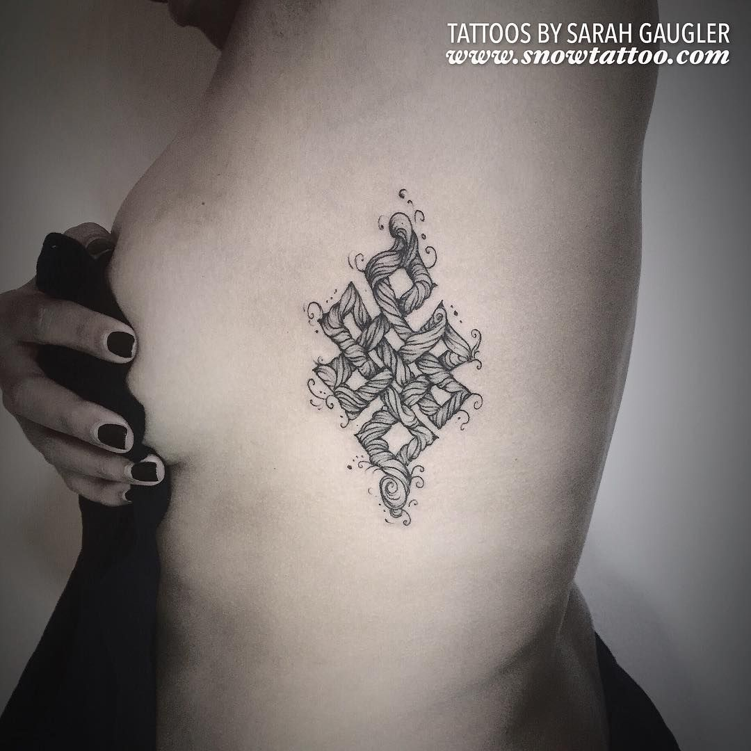 Custom Designed Endless Knot Tattoo By Sarah Gaugler To Book An Appointment Pls Visit Www Snowtattoo Co New York Tattoo Shops Detailed Tattoo Private Tattoos