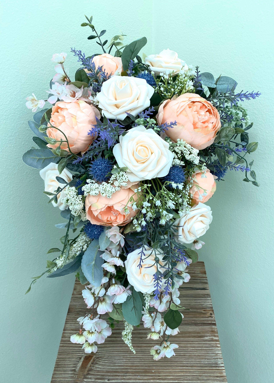Cascade wedding bouquet, colorful boho bridal bouquet, large silk flower wedding bouquet, wedding flowers