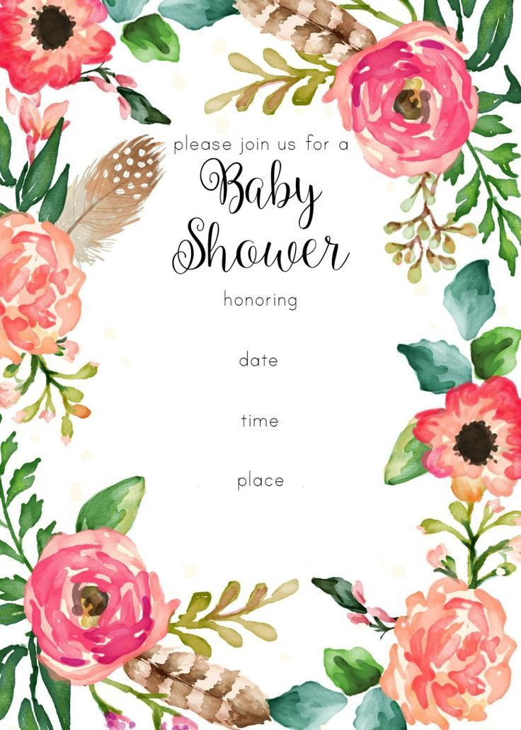 Baby Shower Invitation Backgrounds Free Classy Free Printable Floral Shower Invitation  Printable Baby Shower .