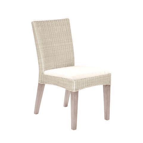 Paris Teak Wicker Dining Side Chair Outdoor Patio Furniture