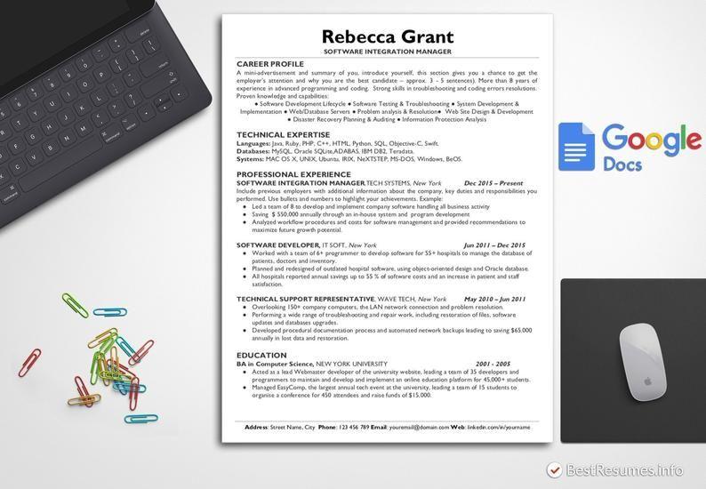 Simple Resume Template IT Resume Template Google Docs ...