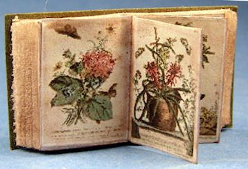 Montserrat Folch -aged open botanical prints book, a few pages can turn.