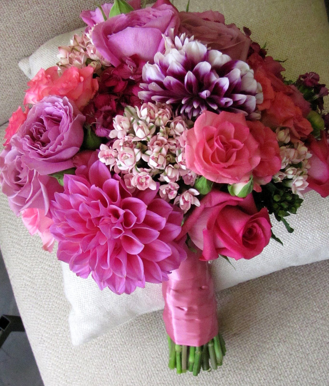 Flowers by shirley garden rose bouquets - Dahlias Bouvardia And Rose Bouquet