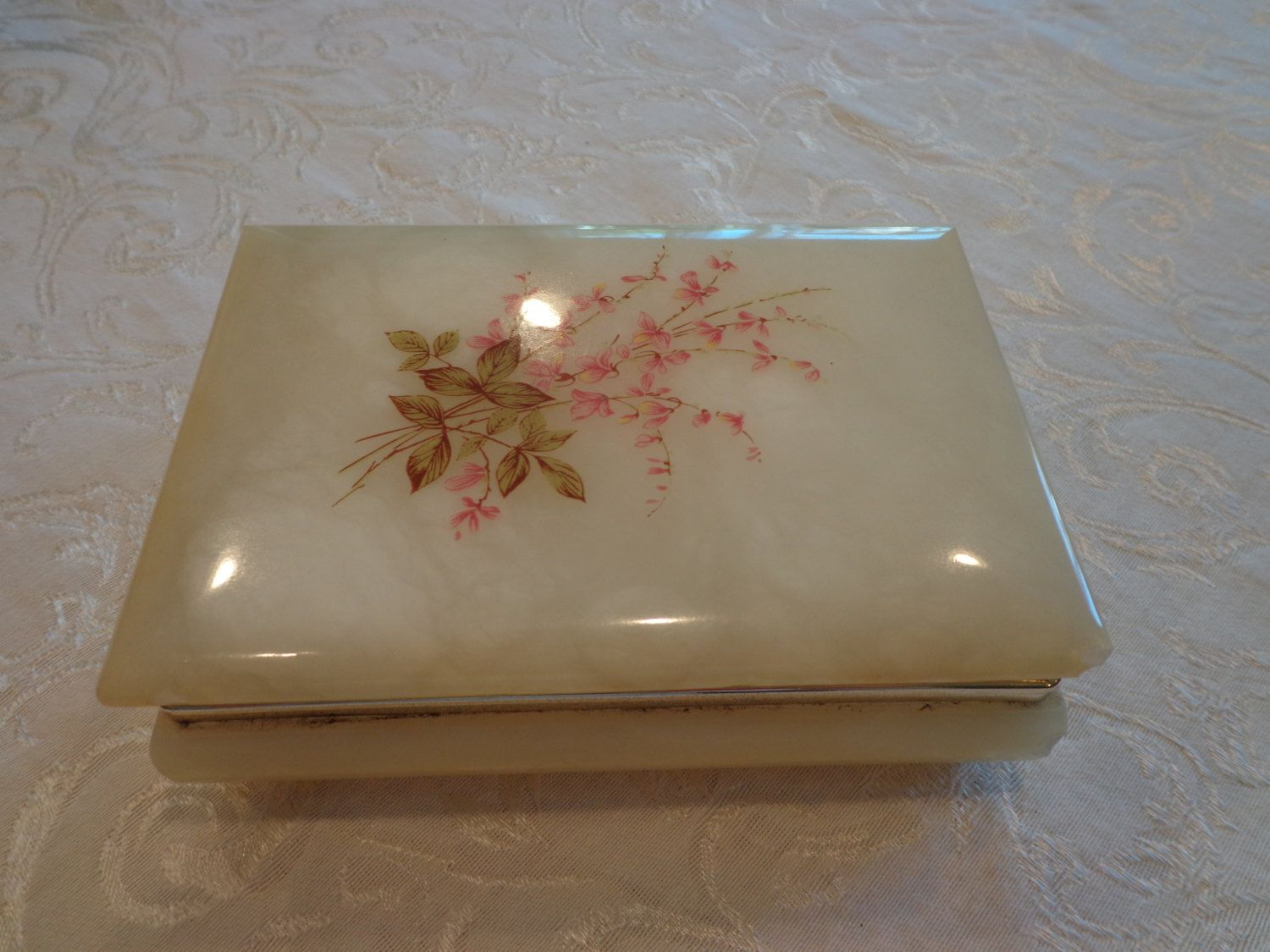 Butter Yellow Alabaster Rectangular Box Vanity Marble Box Mid