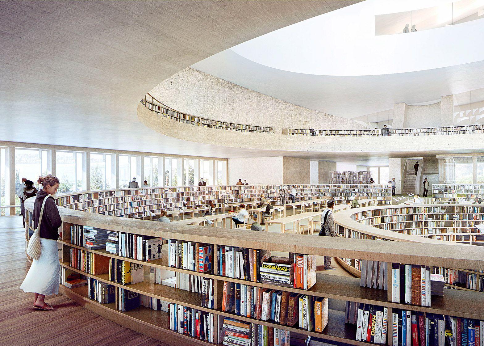 Herzog De Meuron New Images Of National Library Of Israel Library Architecture Architecture Architecture Visualization