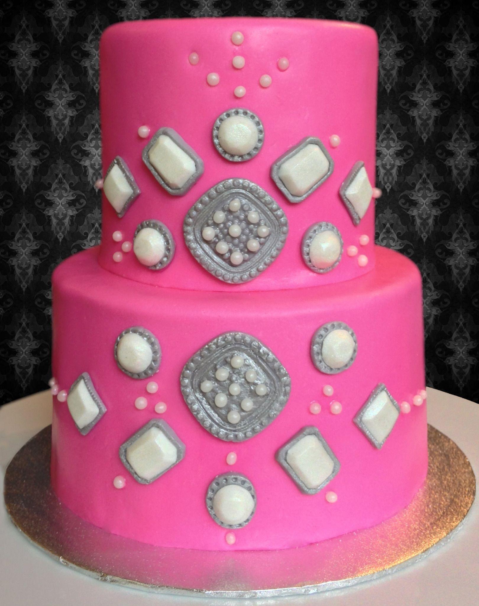 Pink Jeweled Birthday Cake | Cake, Jewel cake, Chocolate ...