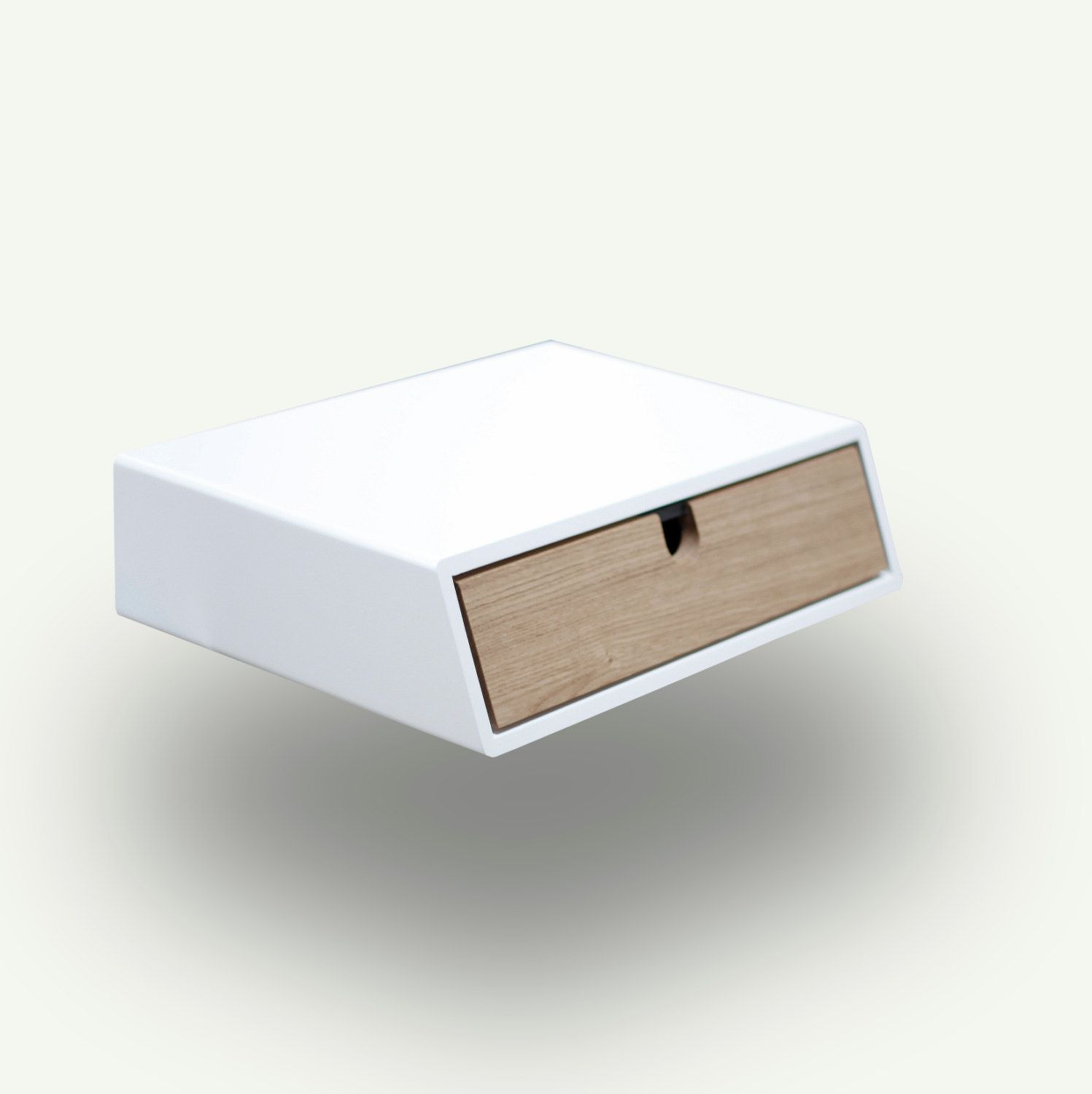 Floating White nightstand / Bedside Table / Drawer,  Scandinavian Mid-Century Modern Retro Style with 1 drawer made of oak wood by Habitables on Etsy https://www.etsy.com/listing/209576811/floating-white-nightstand-bedside-table
