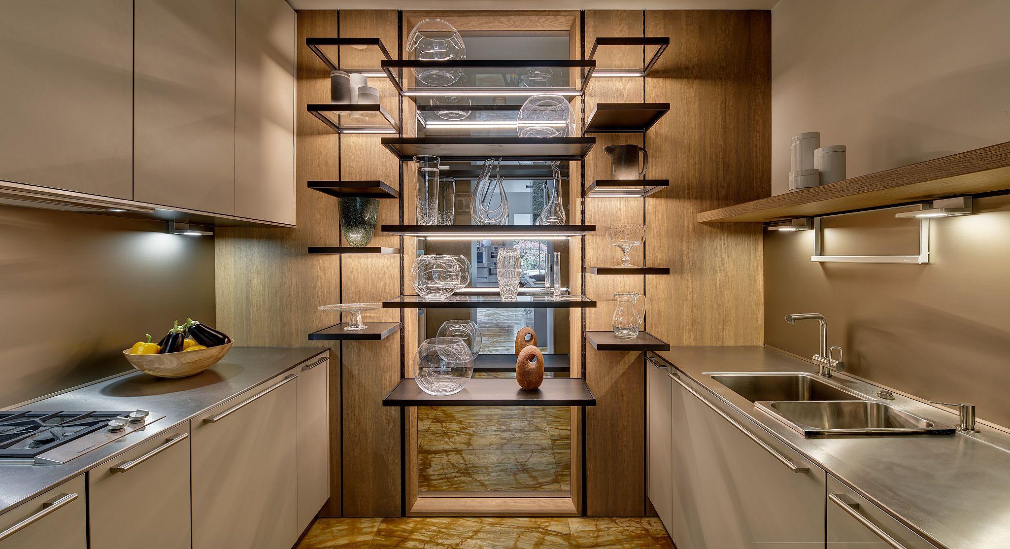 Bulthaup B3 Kitchen Featuring Melamine Resin Monobloc Island Wall Hung Gaggenau Ovens Sienna Marble Sand Beige Aluminium P Kitchen Kitchen Cabinets Gaggenau