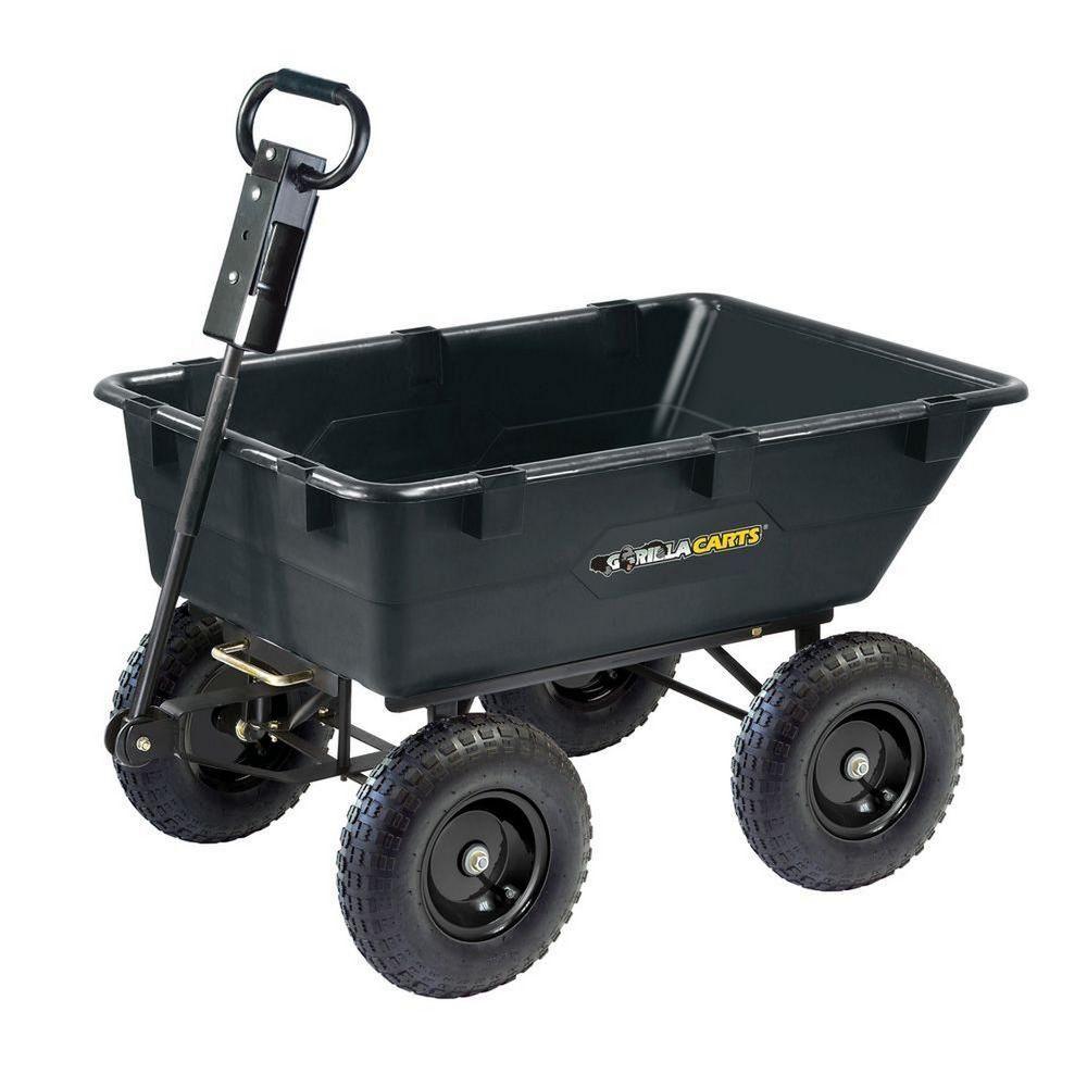Gorilla Carts 1 200 Lb 4 Wheel Pneumatic Tires Heavy Duty Poly Dump Wagon Cart Dump Cart Wheelbarrow Garden Wagon