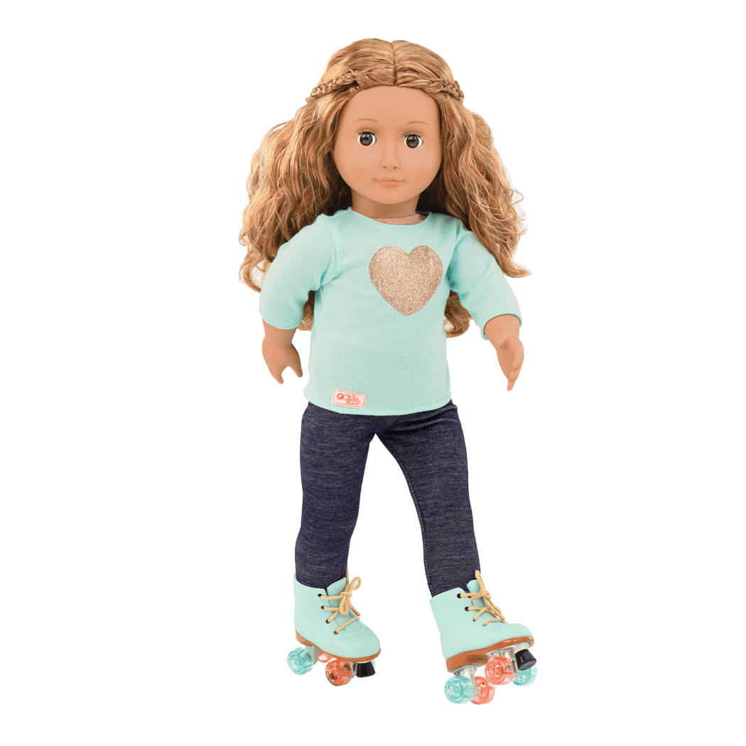 Rainbow Glitter Roller Skates 18 in Doll Clothes Fits American Girl
