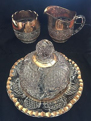 4pc Vintage Clear Glass Dome Lid Butter Dish And Cream Amp Sugar Set W Gold Trim Butter Dish Cream And Sugar Glass Domes