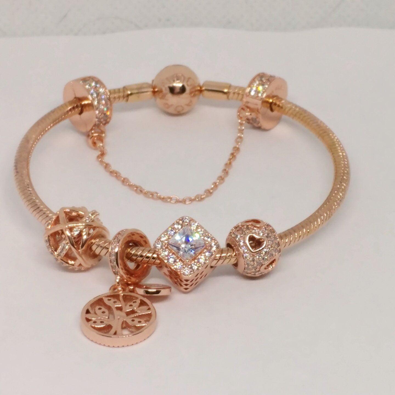 Pandora rose gold bracelet with 5 pandora rose gold charms set ...