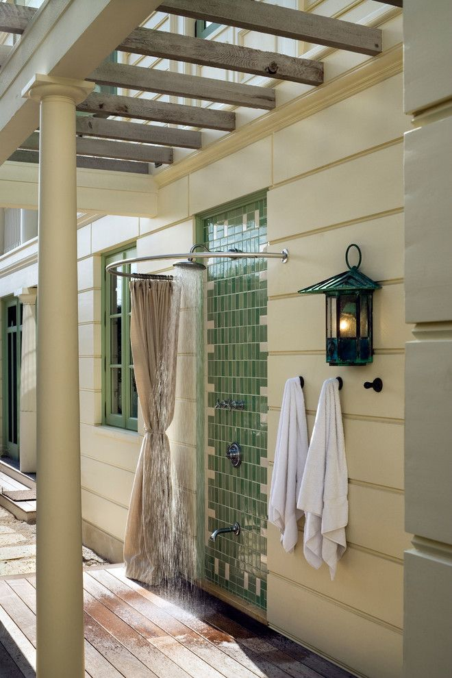 Elegant Round Shower Curtain Rod In Patio Beach Style With Towel