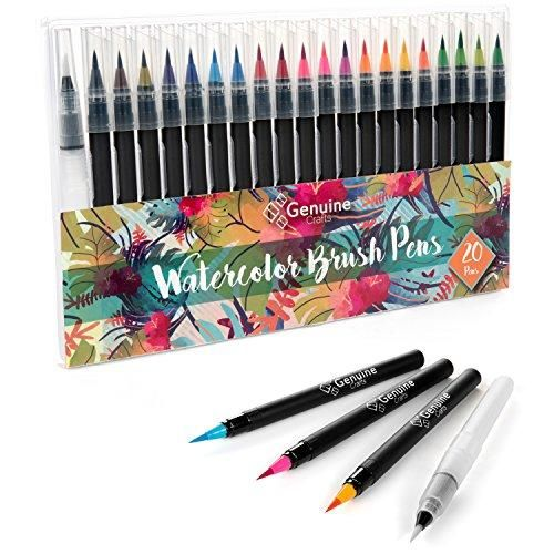 Genuine Crafts Watercolor Brush Pen Set 20 Premium Colors Real