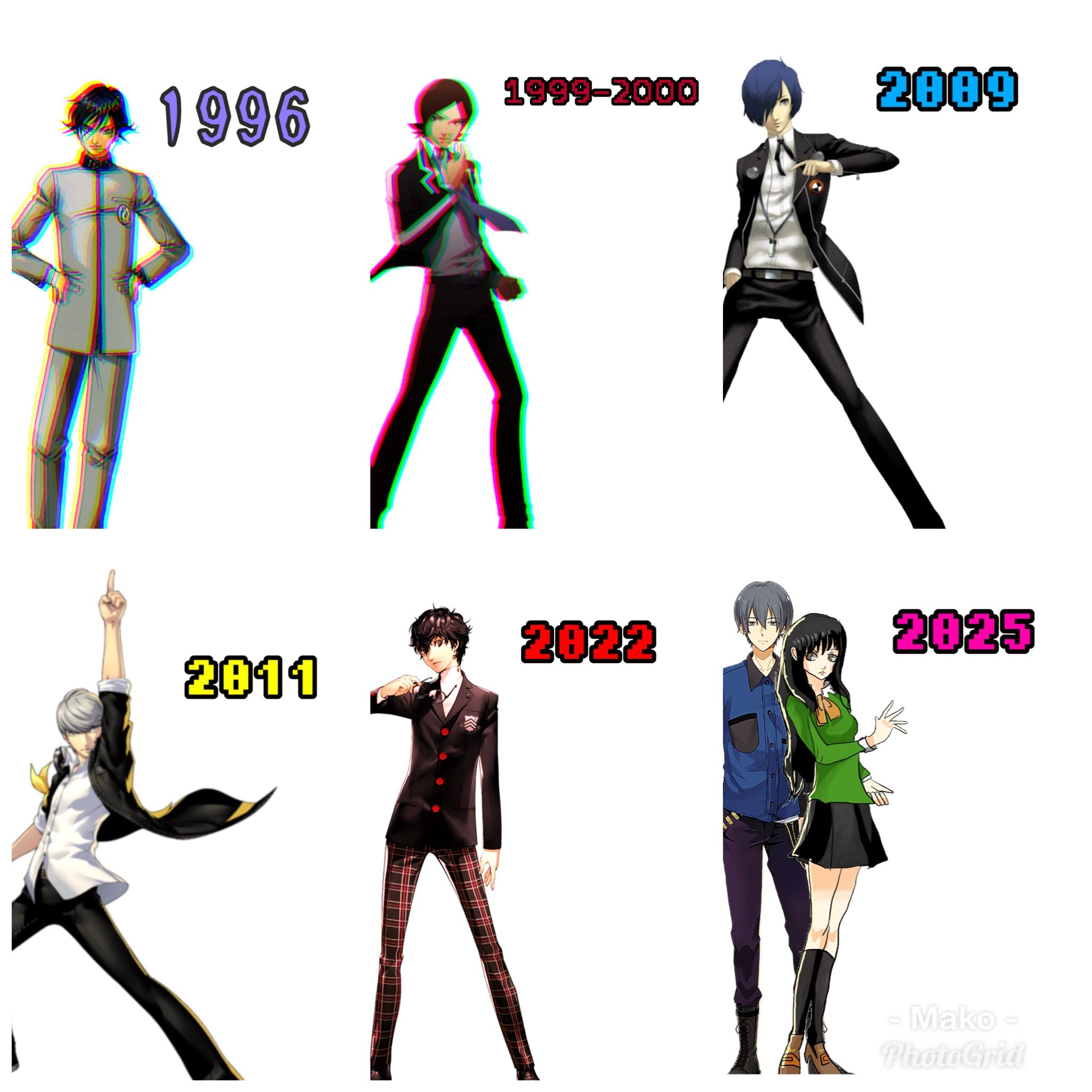 The list of years the persona games take place (yes, Im