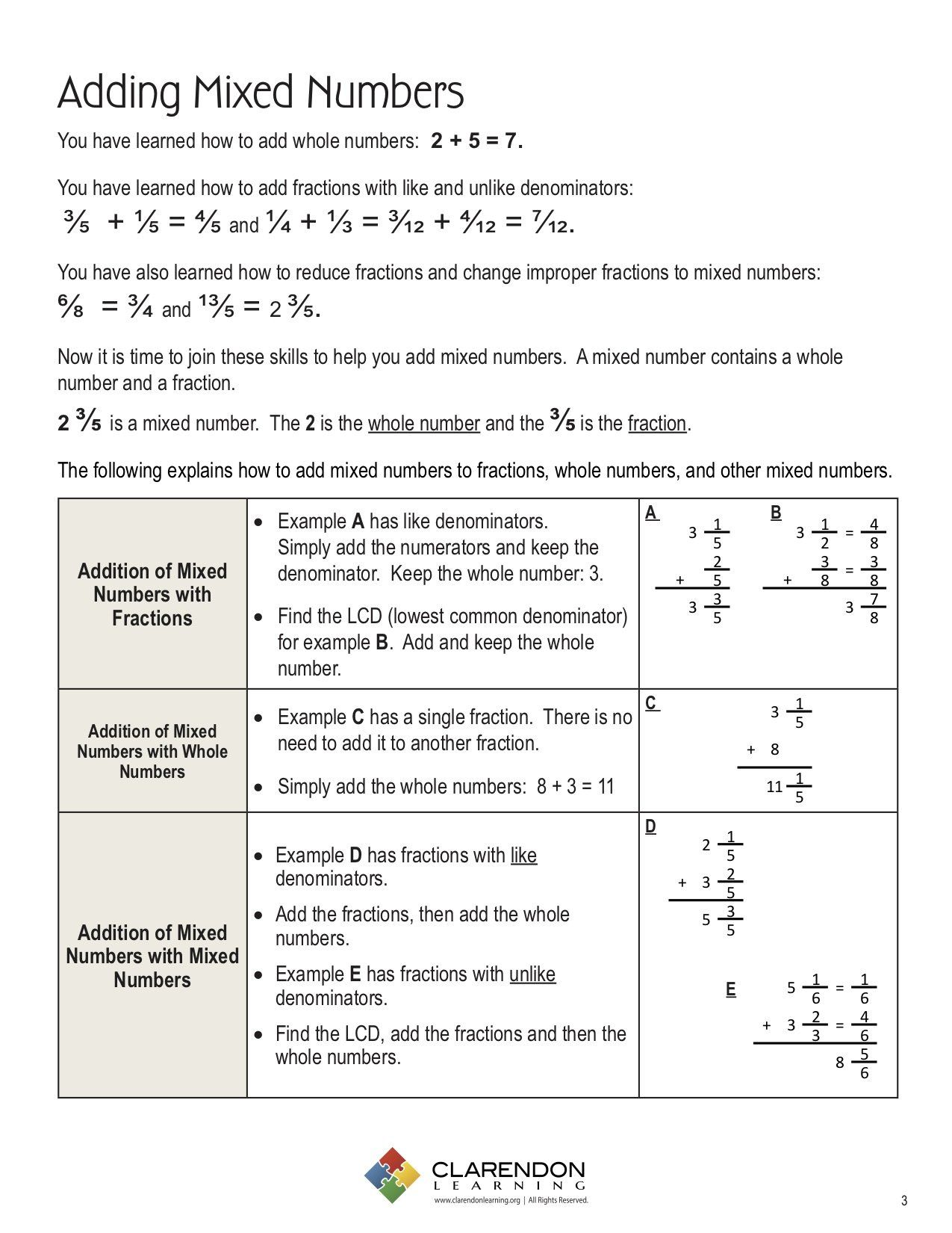 Adding And Subtracting Fractions Mixed Worksheet In