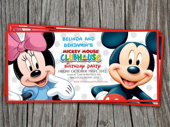 TWINS Birthday Invitation Mickey Mouse Clubhouse - Modern - mickey mouse invitation template