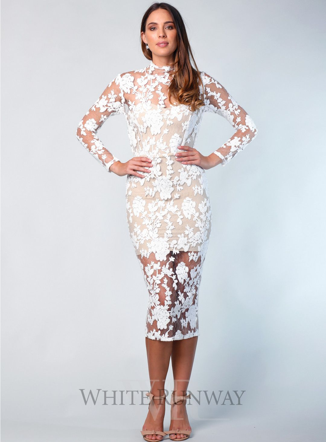 Enchant Long Sleeve Midi. A stunning bodycon midi by Nookie. A high neck  style with lace overlay beb5b7f3a