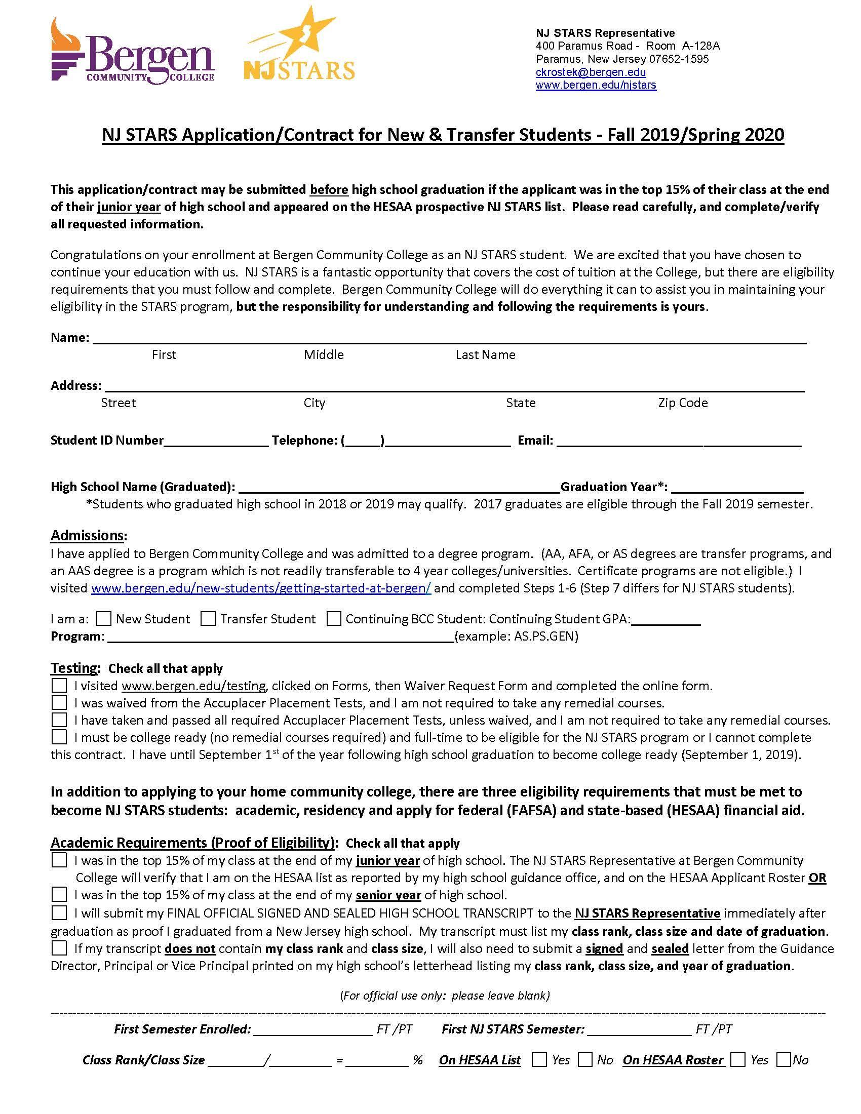 Prospective NJ STARS must fill out the NJ STARS