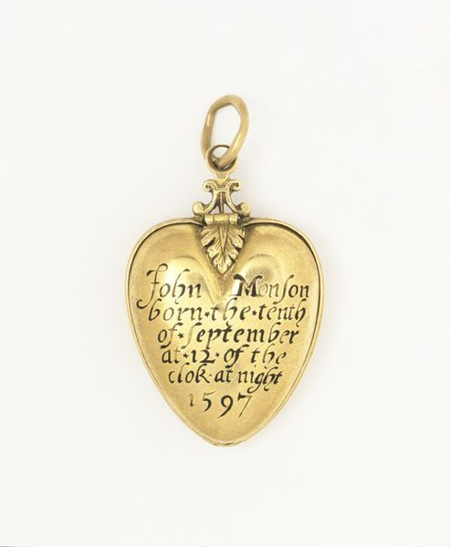 According to family tradition, this English locket (ca. 1597) holds a piece of the caul (birth membrane) of John Monson.  A baby born still covered in its caul was thought to be an omen of good luck. Cauls were dried and saved as luck charms and as protection against drowning.  John Monson himself may have been presented with this locket by his parents as a way to carry the luck of his caul with him wherever he went.