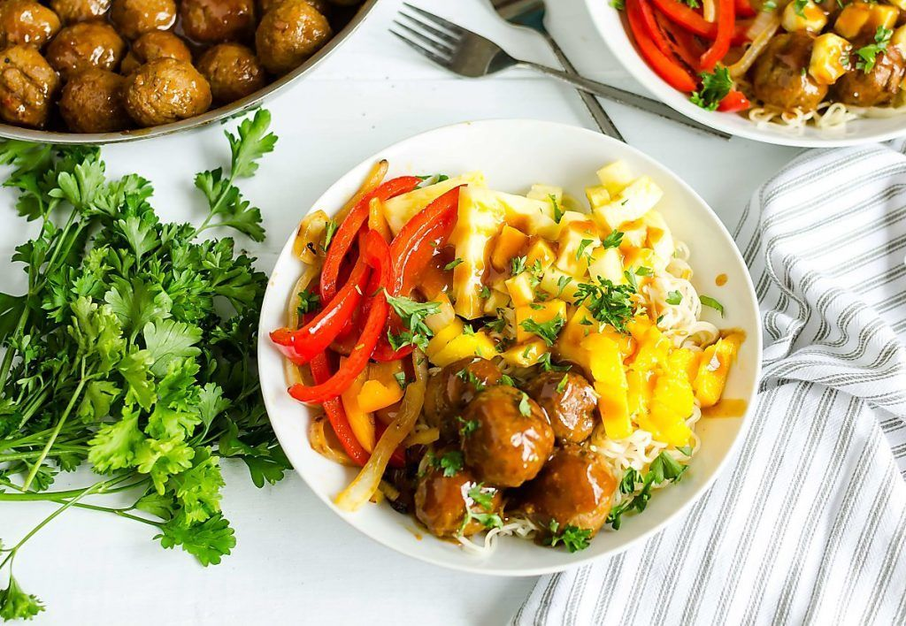 Quick and easy meals never tasted so good! Your family will gobble this Hawaiian Turkey Meatball Noodle Bowl right up. #FarmRich #meatballs