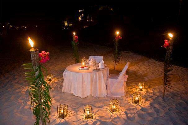 Candlelight Dinner On The Beach