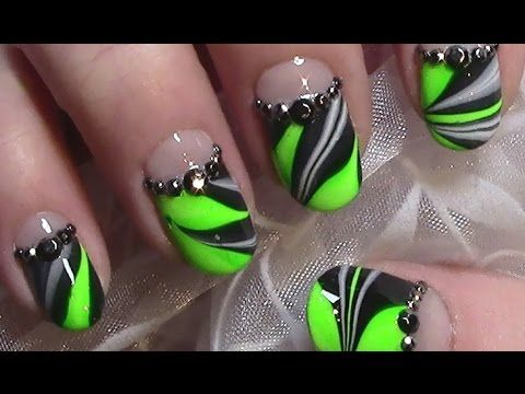 Neon Grün Water Marble Nageldesign / Nail Art Design Tutorial - YouTube