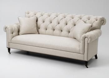 Superb Tufted Roll Back Sofa W Casters Lewis Sheron Furniture Evergreenethics Interior Chair Design Evergreenethicsorg