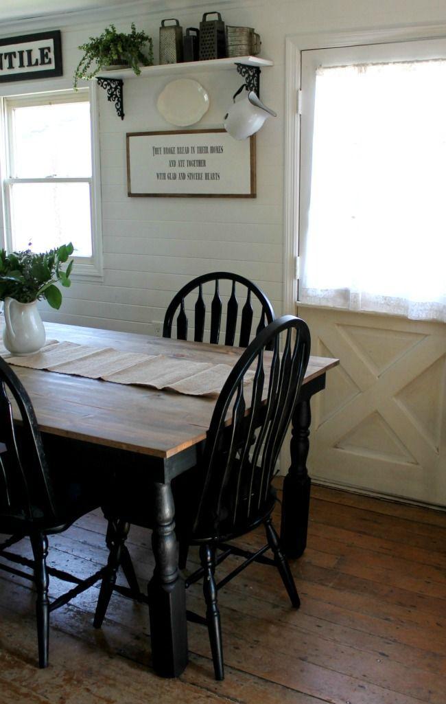 Black And White Farmhouse Kitchen Update Black Kitchen Table Farmhouse Kitchen Tables Kitchen Table Makeover