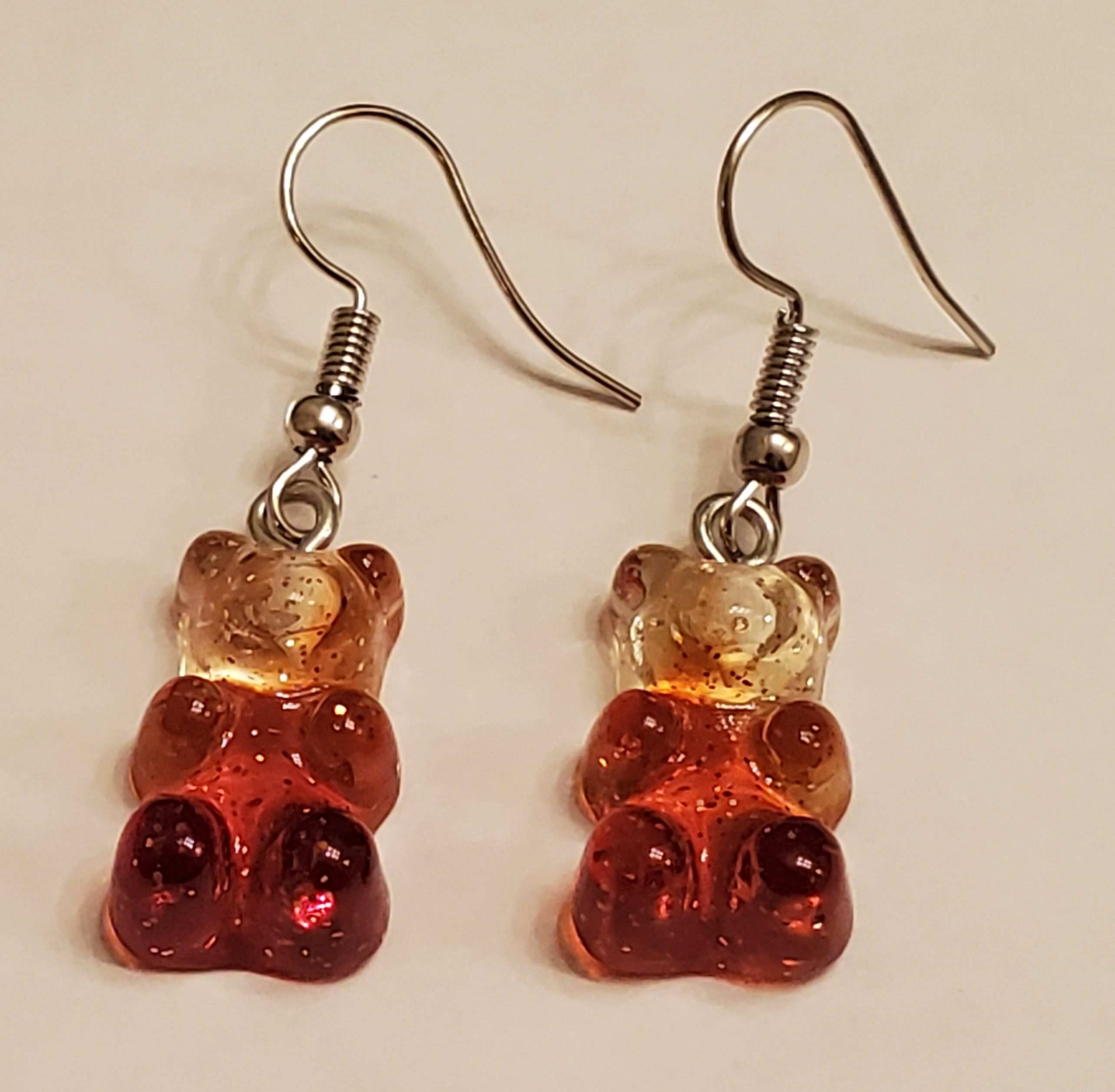 Glitter colourful bear earrings. Gummy Bear Dangle Earrings Many colours available