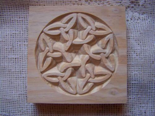 Carved wood rosette block celtic knot oak pine poplar
