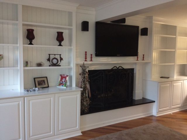 The Built In Cabinets Around Fireplace Look Like They Were