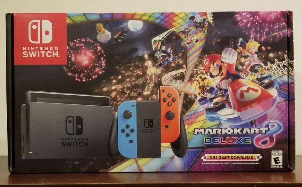 Nintendo Switch Mario Kart 8 Deluxe Console Bundle Neon Blue Red Joy Cons New Mario Kart 8 Nintendo Switch Mario Kart