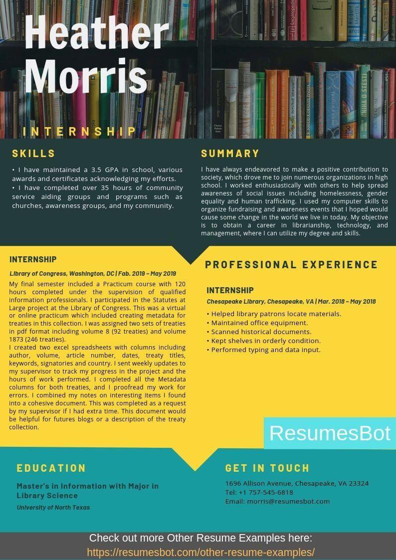 Internship resume samples and tips pdfdoc internship