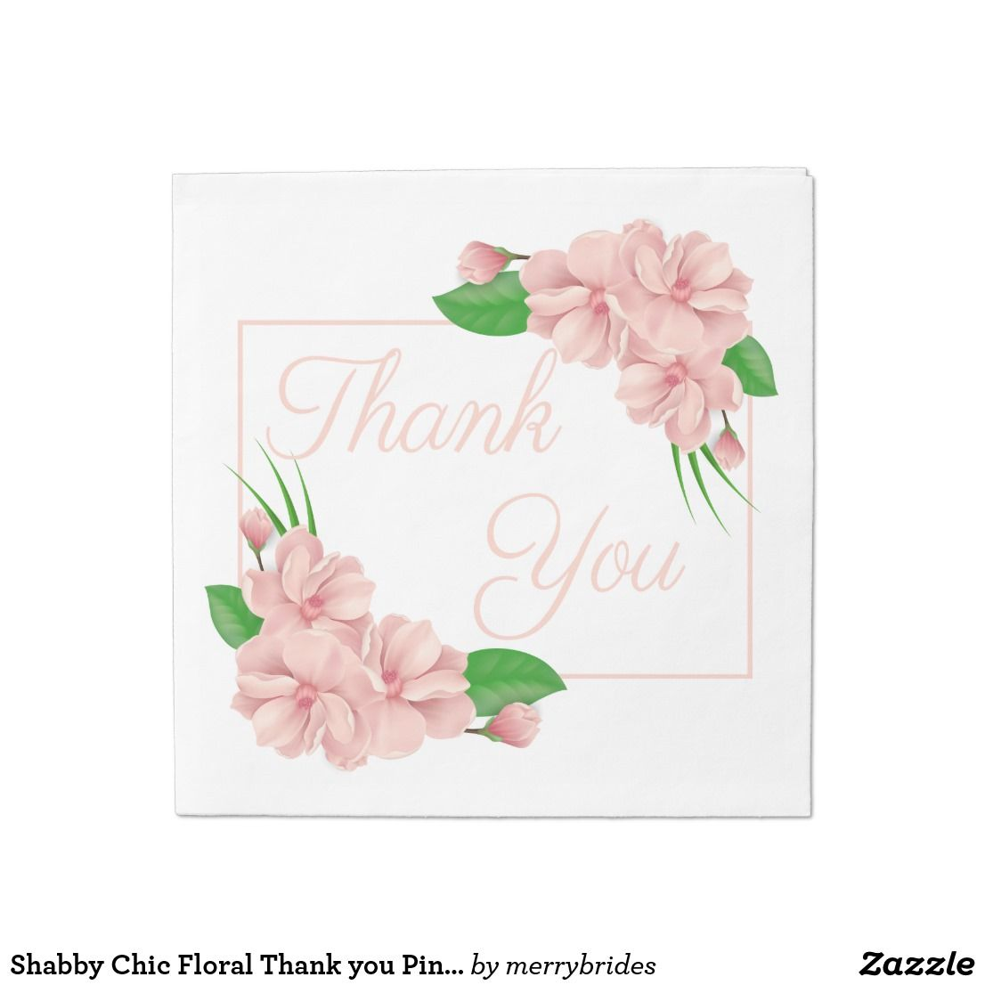 Shabby Chic Floral Thank You Pink Flowers Wedding Paper Napkin Pink Wedding Flowers Wedding Paper Wedding Flowers