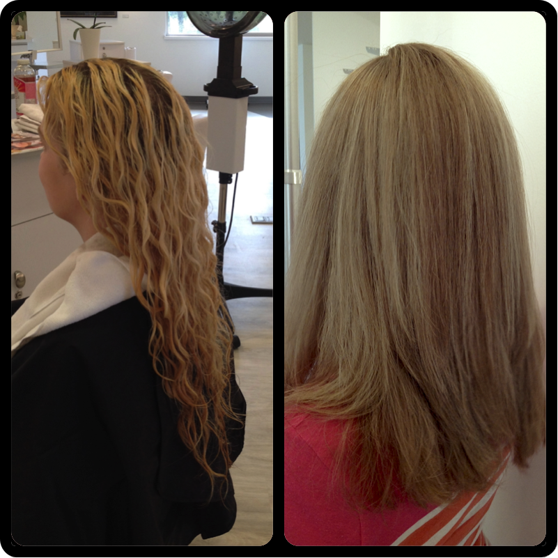 Before And After Straight Hair Long Hair Blonde Highlights