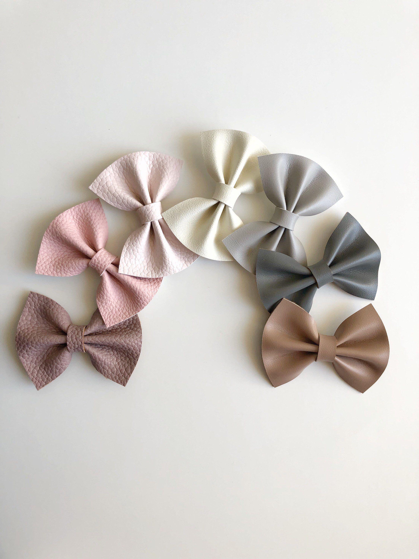 Neutral Faux Leather Hair Bow, Light Pink Hair Bow, Mauve Hair Bow, Nude Hair Bow, Ivory Hair Bow, Gray Hair Bow, Blush Hair Bow #hairbows