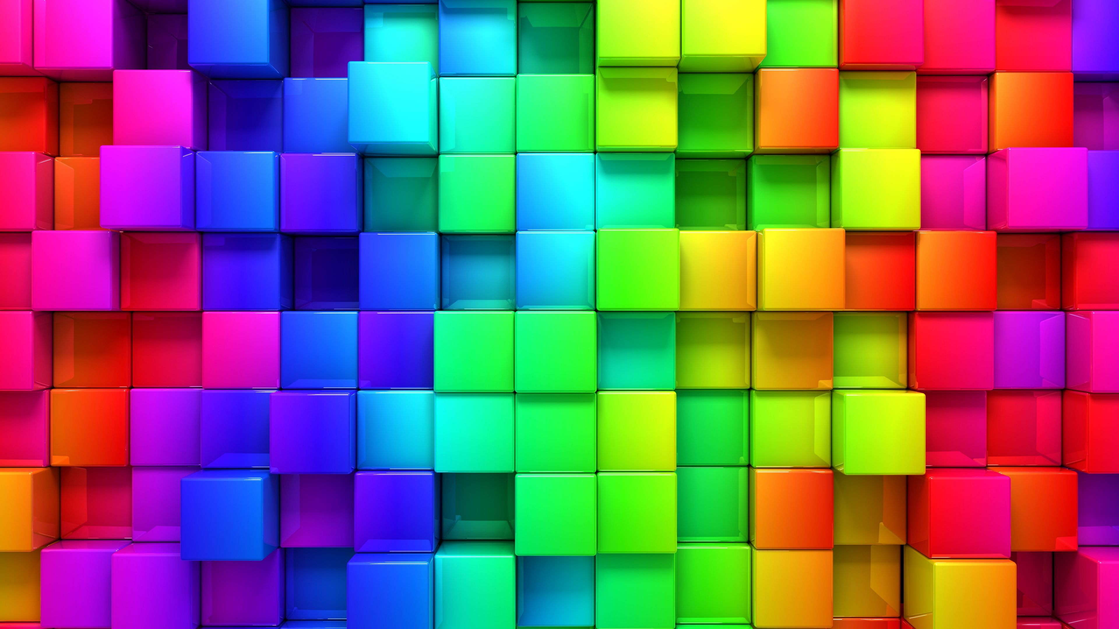 3840x2160 Wallpaper blocks, rainbow, 3d graphics