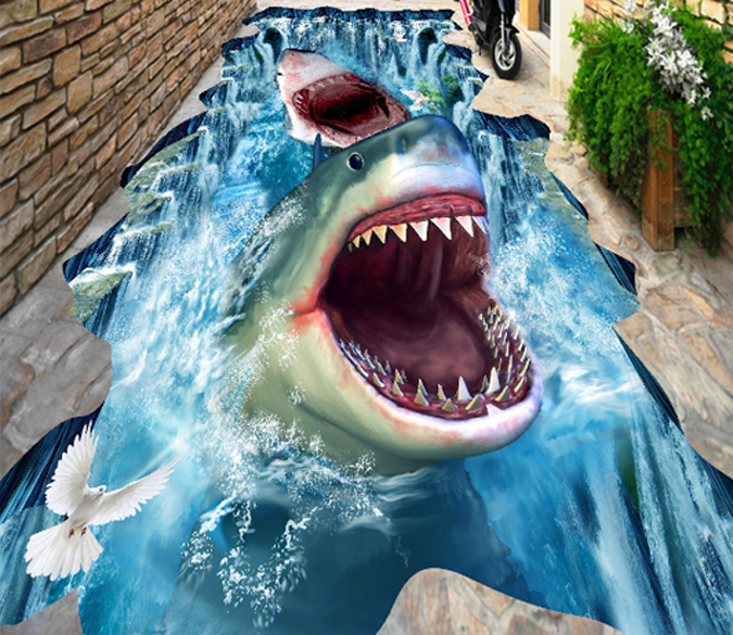 3d Sharks Floor Mural Aj Wallpaper Floor Wallpaper Floor Murals Mural Wallpaper