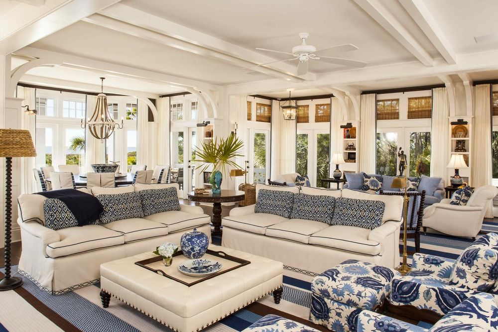 Blue, white and beautiful! woven shades, banded drapes, upholstered