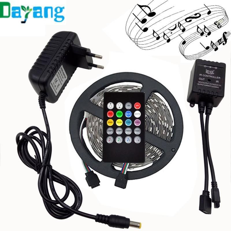 Led Light Strips With Remote Rgb Led Light Strip 5050 10M With 44 Key Ir Remote Controller 12V 2A