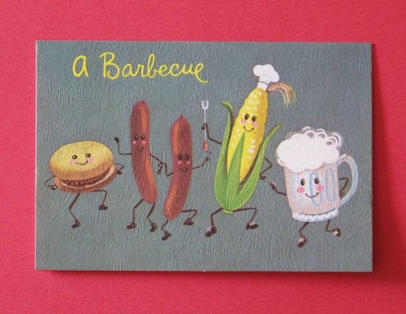 Vintage Backyard BBQ Barbeque Barbecue Party Invitations DANCING - Backyard bbq party cartoon