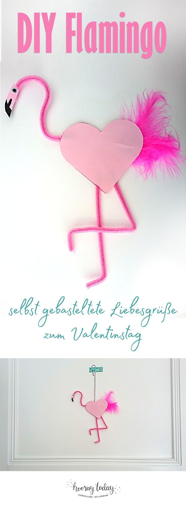 Flamingo, Pfeiffenputzer, Valentinstag, Basteln zum Valentinstag, DIY