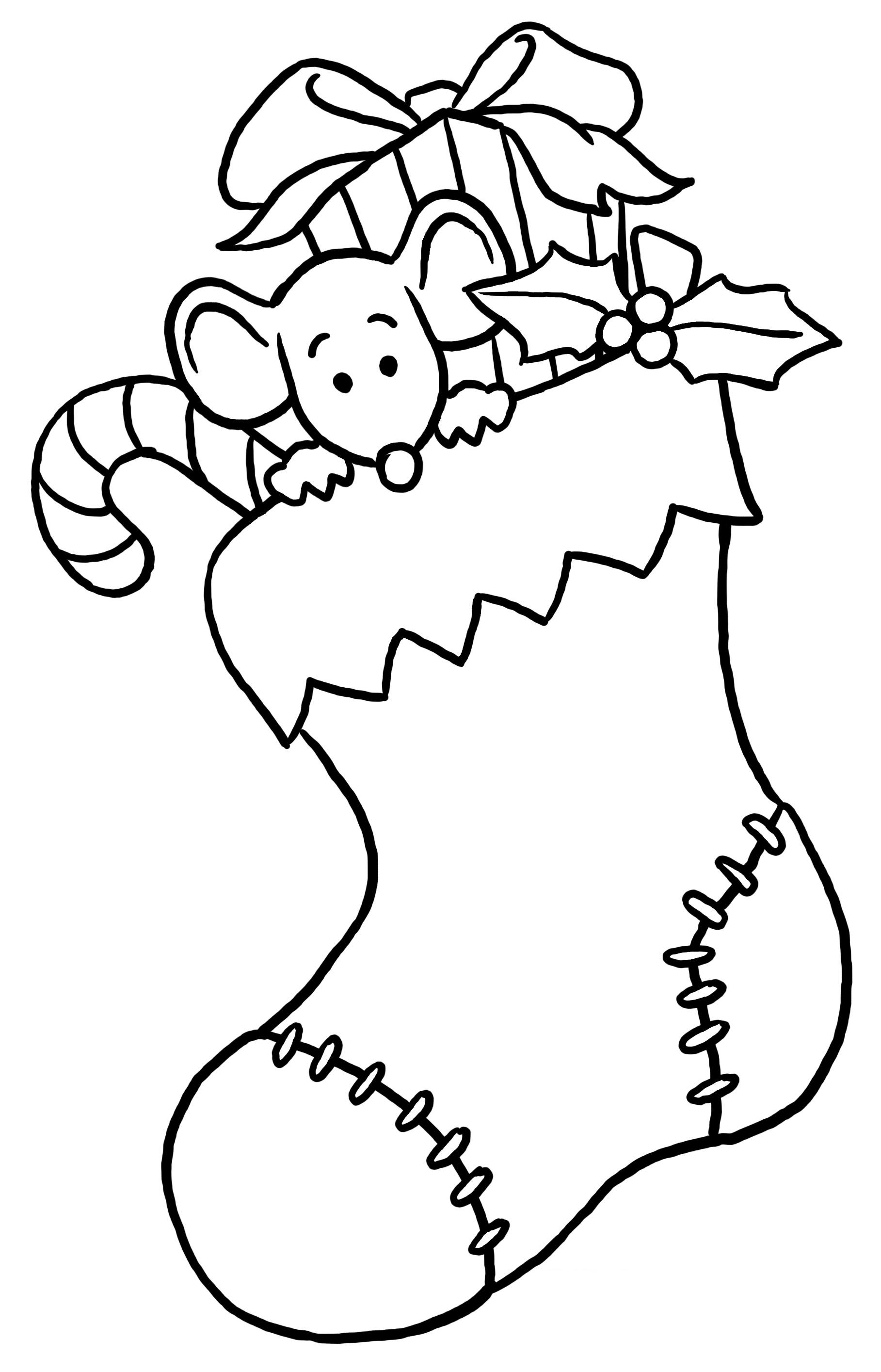 Christmas Mouse In Stocking Large Size Weihnachtsmalvorlagen Ausmalbilder Weihnachten Weihnachten Zeichnung
