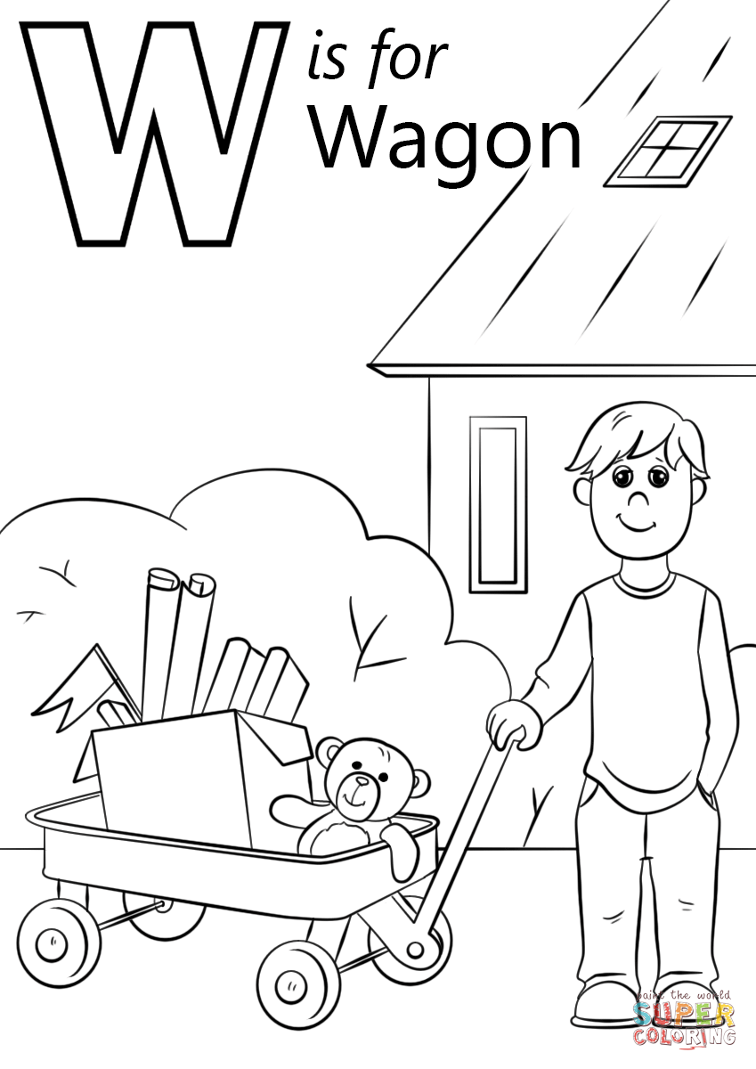 Letter w is for wagon coloring page from letter w category select from 29188 printable crafts of cartoons nature animals bible and many more