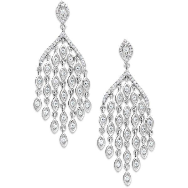 Diamond Chandelier Earrings In 14k White Gold 1 Ct T W Found On Polyvore