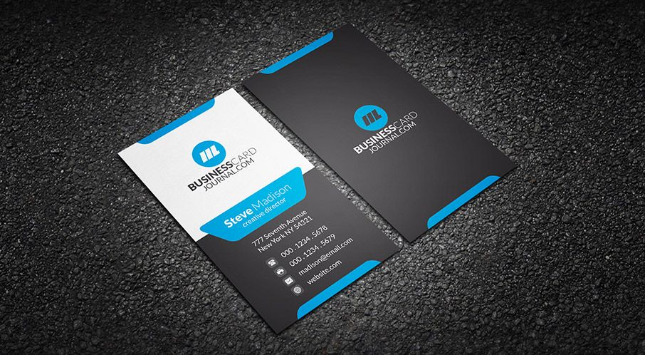 Modern Stylish Blue Corporate Business Card Template => More at ...