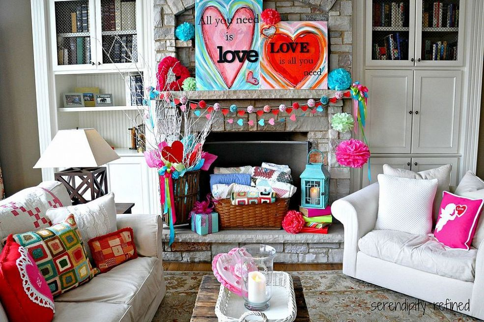 Inexpensive and Easy Valentine's Day Mantel Decorating :: Hometalk