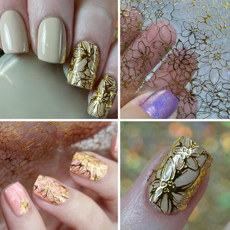 1 Sheet Embossed 3D Nail Art Stickers Blooming Flower Decals Tips ...